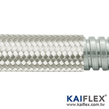Braided Flexible Metal Conduit, Square-lock Gal, Stainless Steel Braiding
