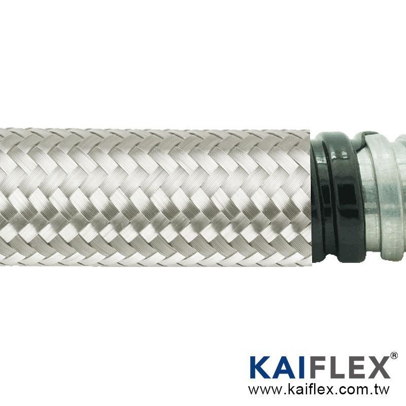 金屬軟管, 單勾鍍鋅鋼, PVC 披覆, 不銹鋼編織