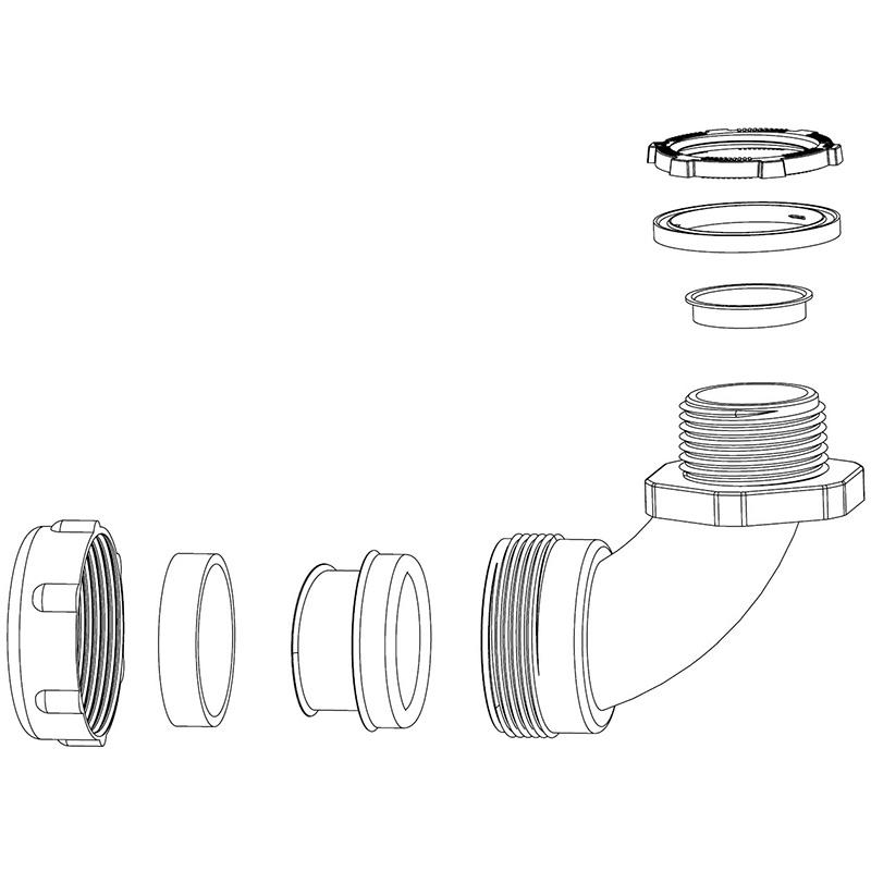 梅花螺帽金屬軟管盒接頭, 90度接頭